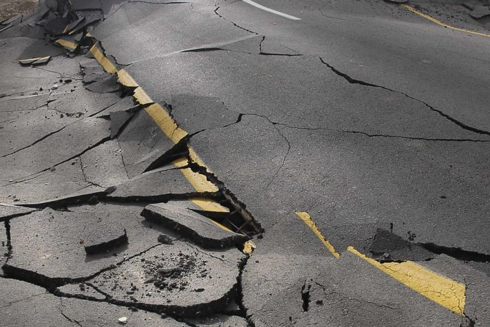 road after earthquake