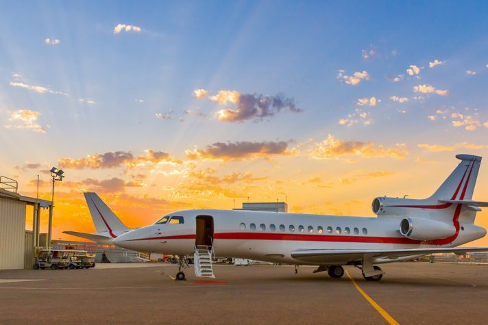 Sky Harbor airport Falcon 7X exterior passengers