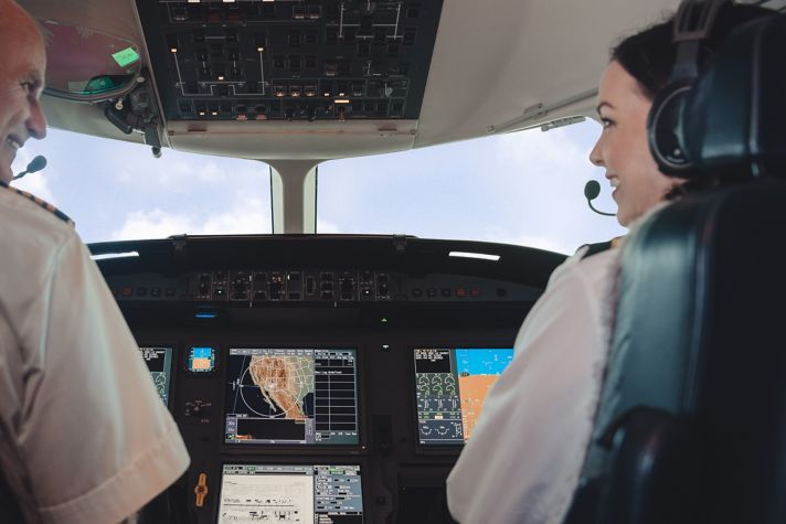 Pilot and copilot in airplane cockpit