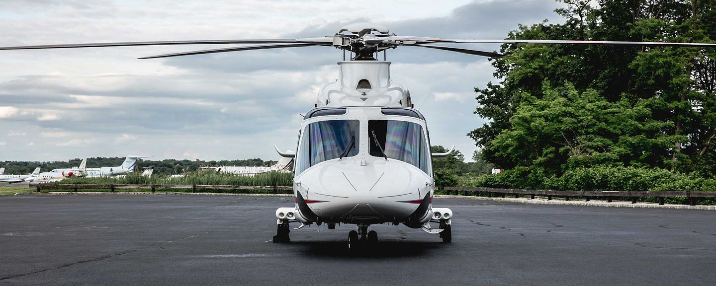 AW139 Helicopter Front View on Ramp