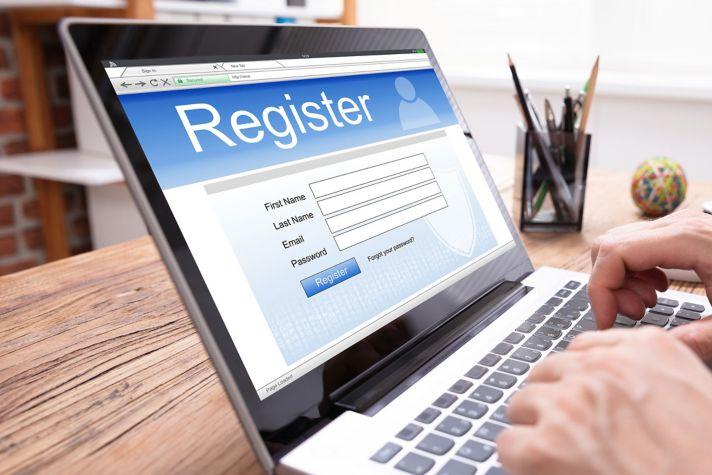 Registration on laptop
