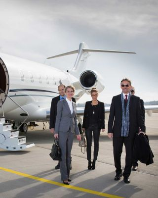 Private jet Going to meeting