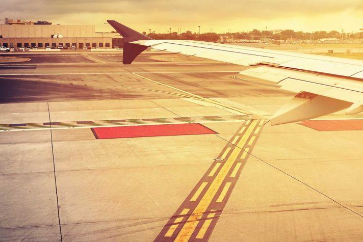 Runway at sunset