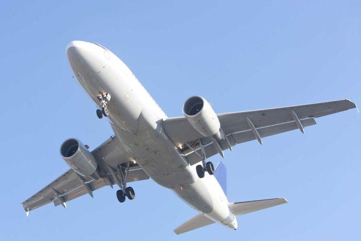 Airliner on blue sky