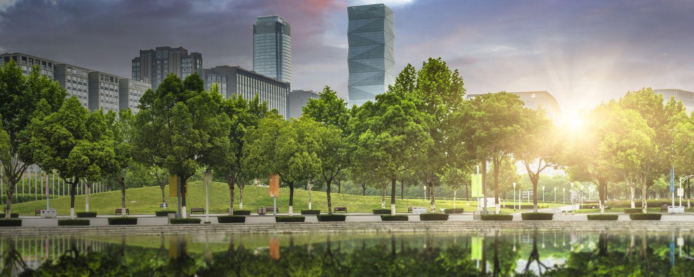 green office block of shanghai, china.