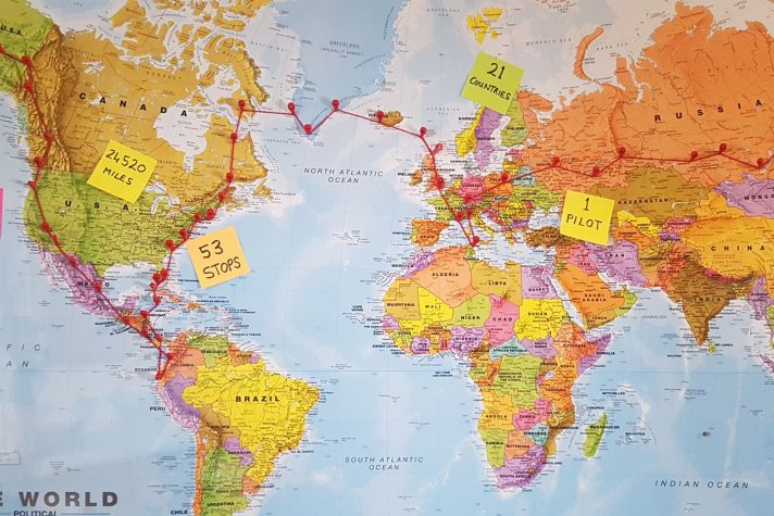 Map for Youngest Pilot to Fly Solo Around the World