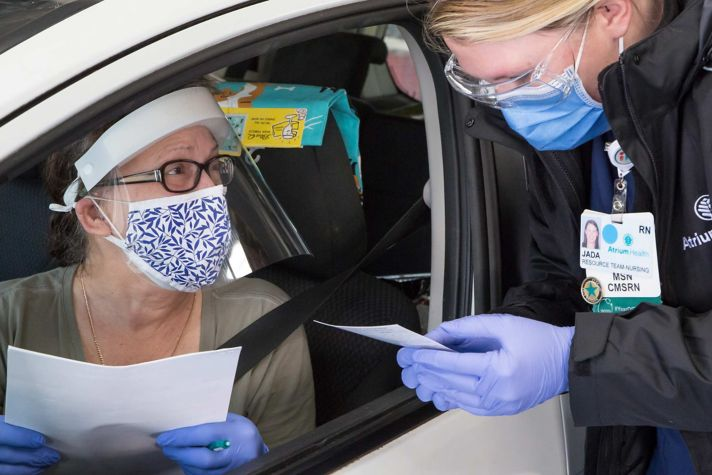Mass vaccination at Charlotte Motor Speedway