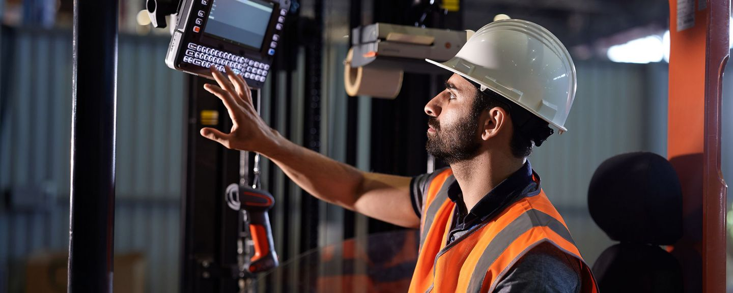 worker using a vehicle mounted computer